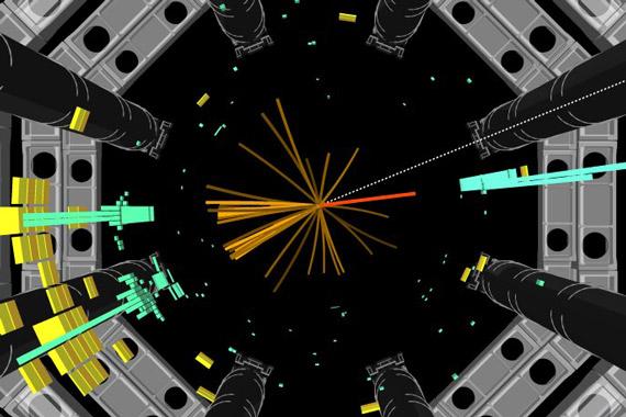 Зарегистрированное детектором ATLAS событие-кандидат на распад бозона Хиггса на b-кварковую пару