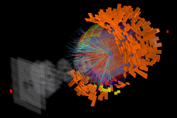 Столкновение двух ядер ксенона, зарегистрированное детектором ALICE