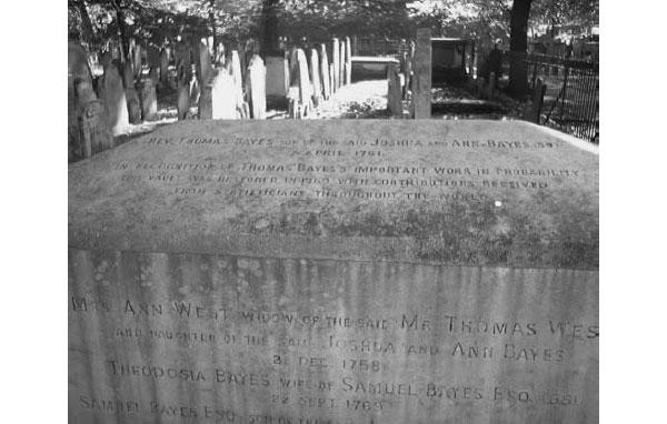 """Могила преподобного Томаса Байеса. Томас Байес похоронен на кладбище Банхилл-Филдс в центре Лондона. В XVIII веке на этом кладбище хоронили нонконформистов13, но теперь это общественный парк. Могила была отреставрирована в 1969 году, на средства """"статистиков со всего мира"""".\nИсточник: Фото профессора Тони О'Хагана из Шеффилдского университета.\n"""