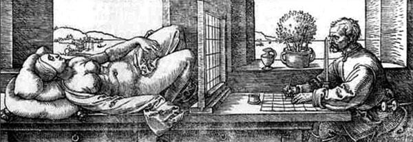 Рис. 8.13. Рисунок Дюрера иллюстрирует особенности мужского способа познания. Художник учиться рисовать, разбивая поле зрения на квадраты, и последовательно перенося на бумагу содержимое каждого квадрата. Такой же процесс идет при познании любого объекта, даже умозрительного: в процессе анализа выделяются отдельные признаки объекта. Женщина же воспринимает объект как целое.