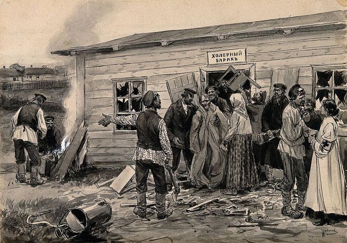 Нападение на холерный барак во время холерного бунта. Изображение: commons.wikimedia.org