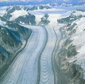Ледник Гилки на Аляске. По искривленным участкам можно получить представление о ежегодном движении льда, который по краям движется медленнее, чем в середине. Во время ледниковых периодов подобные ледники покрывали территорию к югу от Арктики