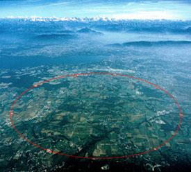 Площадь, занимаемая <nobr>27-километровым</nobr> туннелем БАК (изображение с сайта www.interactions.org)