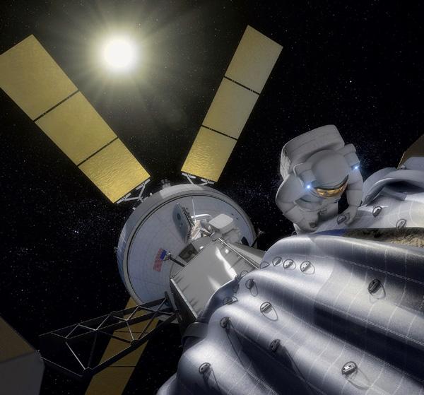 В американском проекте по перемещению астероида (Asteroid Redirect Mission) предполагается при помощи беспилотного космического аппарата доставить астероид на орбиту, подобную лунной, поближе к Земле. Затем отправить к нему пилотируемый корабль, пристыковать его к астероиду и высадить на поверхность астронавтов-исследователей. Астронавты изучат астероид, возьмут образцы его пород и через несколько дней доставят их на Землю. Рисунок: NASA.