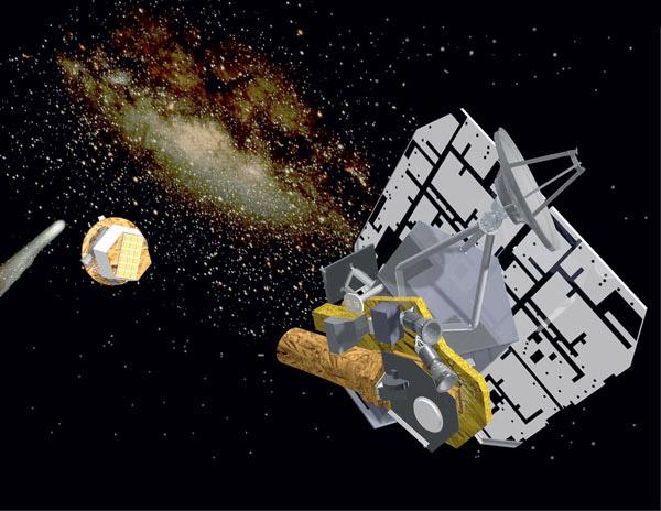 Миссия Deep Impact (<i>слева направо</i>: комета Темпель 1, ударное устройство Smart Impactor и перелётный космический аппарат, доставивший ударник к цели и наблюдавший удар). ©NASA/JPL