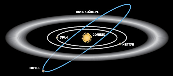 Пояс Койпера расположен за орбитой Нептуна. ©Рисунок Зои Флоринской