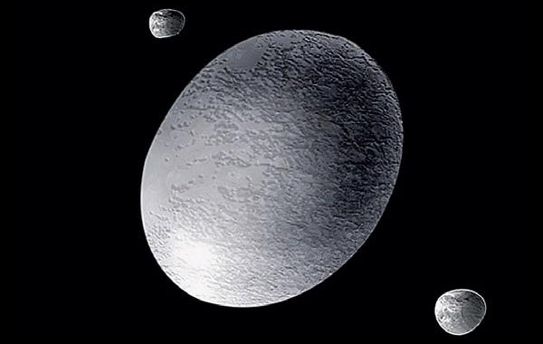 Любопытный объект пояса Койпера— Хаумеа со спутниками Хииака и Намака. ©A.Feild (Space Telescope Science Institute)