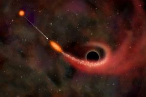Если звезда подойдет слишком близко к черной дыре, она будет «растянута» приливными гравитационными силами, а затем буквально разорвана. Большая часть вещества звезды сможет «убежать», но некоторая часть будет захвачена, образуя вокруг дыры вращающийся диск. Рентгеновское излучение испускается веществом диска за счет разогревания газа при падении в черную дыру (изображение с сайта antwrp.gsfc.nasa.gov)