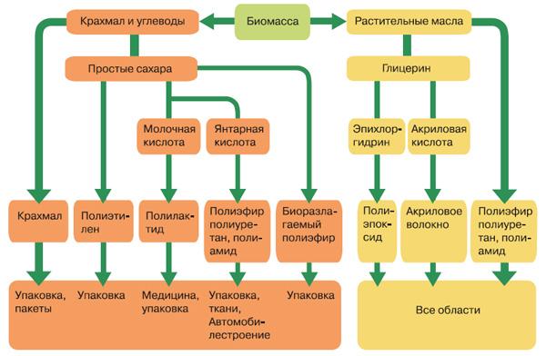 Общая схема производства полимеров из растений