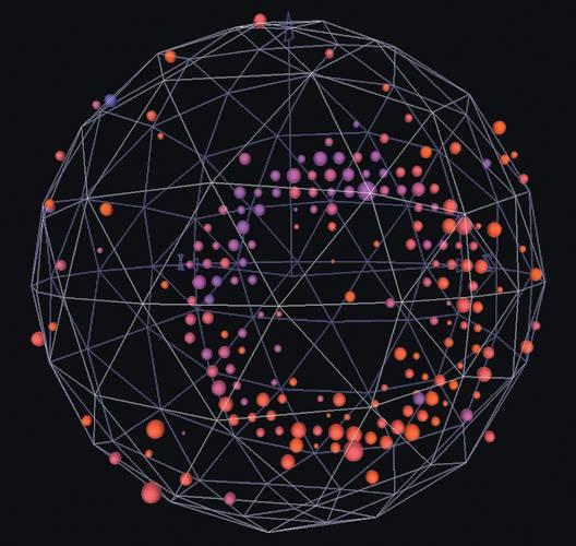 Кольца света. Свет, который могут видеть чувствительные электронные фотоумножители,— это черенковское излучение. Оно порождается торможением частиц, возникших при взаимодействии нейтрино с веществом в сферическом резервуаре диаметром 12м, наполненном 800т масла. Изображение: «Популярная механика»