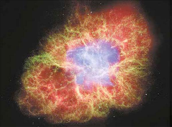 Крабовидная туманность, изученная в лучах с различной длиной волны. Голубой цвет — рентгеновские лучи (НАСА, рентгеновская обсерватория Чандра), зелёный — оптический диапазон (НАСА, обсерватория Хаббл), красный — инфракрасное излучение (ЕКА, обсерватория Спитцер). Изображение: «Наука и жизнь»