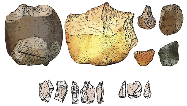 Самые древние орудия— массивные гальки со стесанной верхушкой или краем (олдувайская техника)