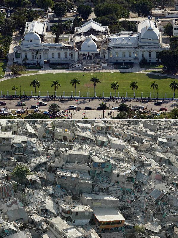 Землетрясение 12 января 2010 года, Порт-о-Пренс, столица Республики Гаити. Разрушенные президентский дворец (вверху) и городские кварталы (внизу). Общее число погибших — 220 тысяч.