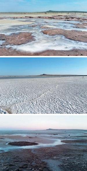 Рис. 1. Озеро Баскунчак в разное время («Природа» №5, 2020)
