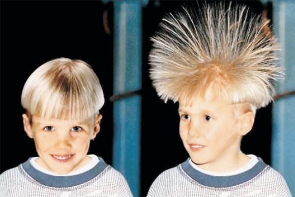 Рис. 3. Как встают волосы в сильном электрическом поле. Изображение: «Квант»