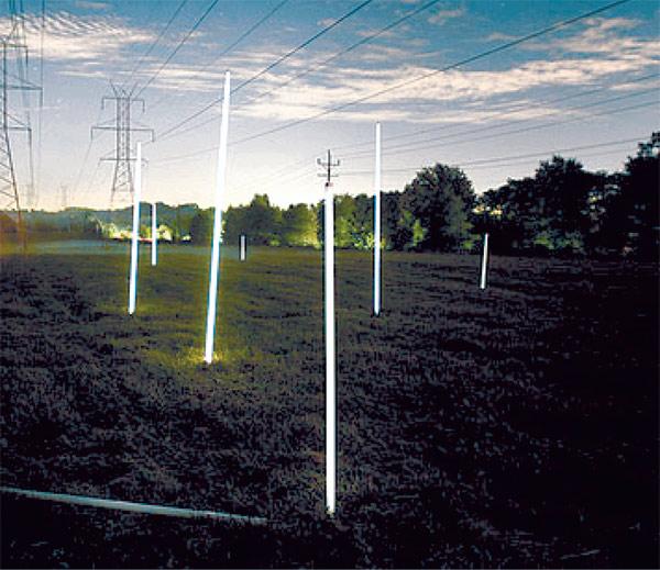 Рис. 5. Свечение люминесцентных ламп, воткнутых в землю под высоковольтными линиями электропередач. Изображение: «Квант»