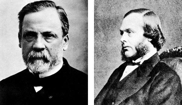 Луи Пастер (1822–1895) (слева) и Джозеф Листер (1827–1912)