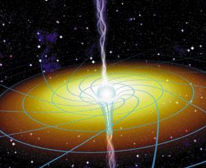 Черная дыра — это самоподдерживающееся гравитационное поле, сконцентрированное в сильно искривленной области пространства-времени (изображение с сайта www.science.nasa.gov)