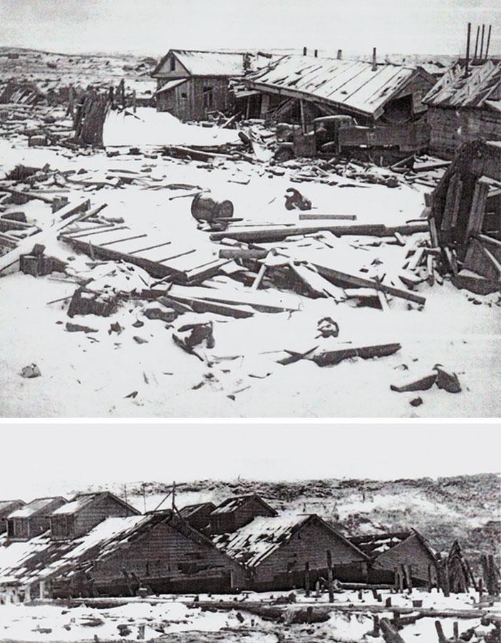 Разрушения в г. Северо-Курильске (о. Парамушир) после цунами 5 ноября 1952 г. («Наука из первых рук» №2/3 (78), 2018)