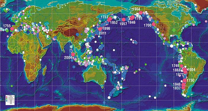 Карта очагов цунами, возникших в Мировом океане в течение последних двух тысяч лет («Наука из первых рук» №2/3 (78), 2018)