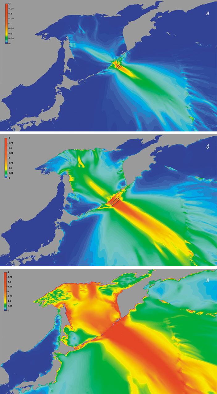 Расчеты цунами от модельных очагов с магнитудами Mw = 7,8, 8,4 и 9,0, расположенных в районе Средних Курил («Наука из первых рук» №2/3 (78), 2018)