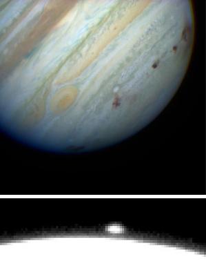 Восемь мест столкновений (темные пятна, некоторые наложились друг на друга и едва различимы), повредивших южное полушарие Юпитера, видны на изображении, полученном 22июля 1994года. На нижнем снимке: выброс, похожий на ядерный гриб, над лимбом планеты через 6 минут после столкновения 16июля (фото ©Hubble Space Telescope Comet Team and NASA с сайта hubblesite.org)
