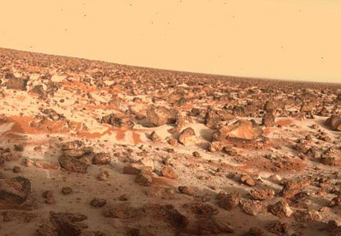 Иней на Марсе. Снимок станции «Викинг» («Квантик» №4, 2017)