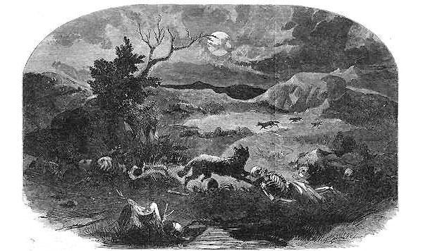 Один из эпизодов Ютской войны— резня на Горных Лугах 11сентября 1857года. Иллюстрация из журнала Harper's weekly от 13 августа 1859года. Изображение с сайта en.wikipedia.org
