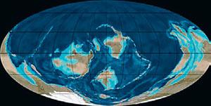 Континенты в ордовике (иллюстрация: Northern Arizona University) («Кот Шрёдингера» №9–10, 2017)