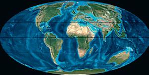 Континенты в палеоген (иллюстрация: Northern Arizona University) («Кот Шрёдингера» №9–10, 2017)