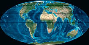 Континенты в неогене (иллюстрация: Northern Arizona University) («Кот Шрёдингера» №9–10, 2017)