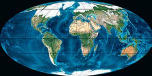 Континенты в четвертичный период (иллюстрация: Northern Arizona University) («Кот Шрёдингера» №9–10, 2017)