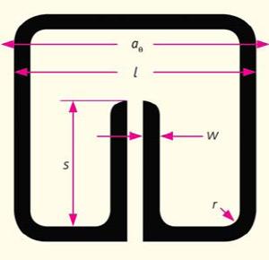 Рис. 3. Схема «элементарной» ячейки с разомкнутым кольцевым резонатором. Параметры: длина стороны квадратной ячейки аθ = 10/3 мм, ширина резонатора  l = 3 мм; он изготовлен из меди с толщиной w = 0,2 мм. В зависимости от номера цилиндра параметр r варьировался в диапазоне от 0,260 (внутренний цилиндр) до 0,116 мм (внешний цилиндр), и s от 1,654 до 2,199 мм, при этом компонента магнитной восприимчивости μρ меняется от 0,003 до 0,279 [7]. Изображение «Природа»
