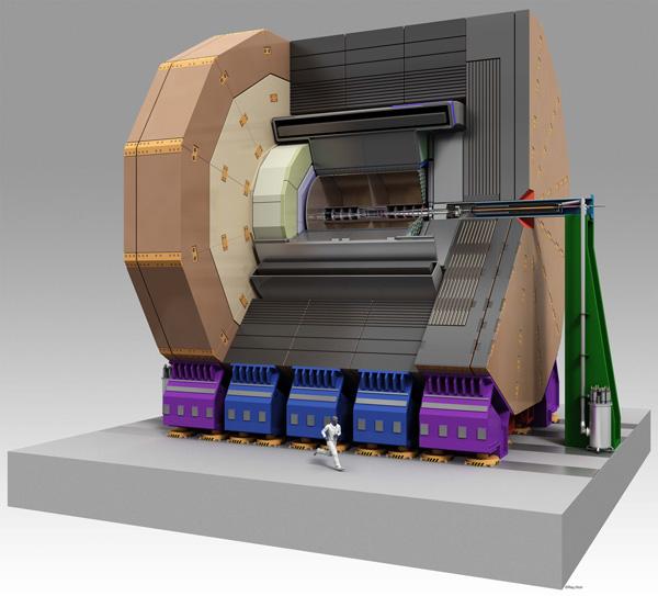 Концепт детектора ILD в разрезе (компьютерная графика). Точка взаимодействия пучков находится в центре. Иллюстрация: Rey. Hori/KEK. Изображение с сайта www-flc.desy.de