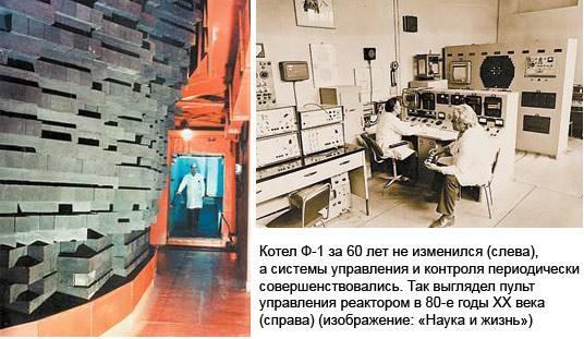Котел Ф-1 за 60лет не изменился (вверху), а системы управления и контроля периодически совершенствовались. Так выглядел пульт управления реактором в 80-е годы ХХвека (внизу) (изображение: «Наука и жизнь»)