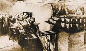 Во время пуска первого в мире ядерного уран-графитового котла, построенного в Чикаго в декабре 1942года, фотографировать было запрещено. Память об этом событии оставил художник (изображение: «Наука и жизнь»)