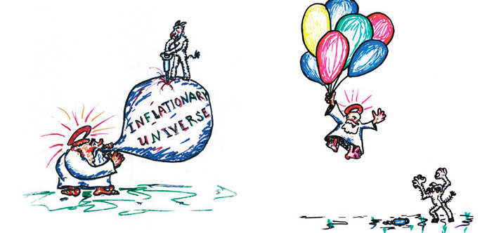 Рисунок Андрея Линде к одной из презентаций.<br>\n<i>Слева</i>: проблемы со старыми моделями инфляции. <i>Справа</i>: вечная инфляция с мультивселенной решает все проблемы («ТрВ» №10(229), 23.05.2017)