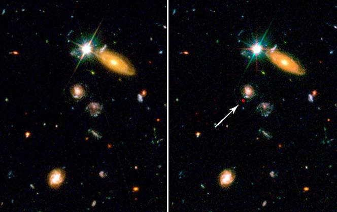Сопоставление разных по времени снимков привело не только к обнаружению далекой сверхновой, но и к выявлению ускоренного расширения Вселенной. Фото ©NASA and J.Blakeslee (JHU) с сайта hubblesite.org