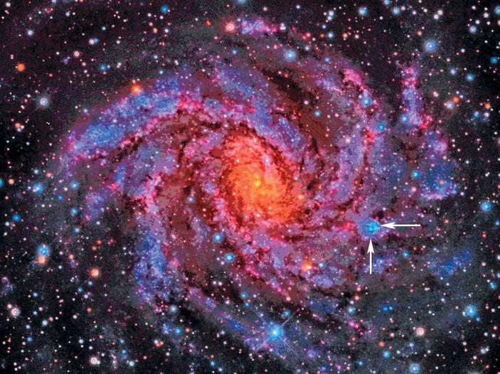Рис. 4. Близкая спиральная галактика NGC 6946 («Природа» №7, 2019)