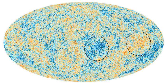 Рис. 1. Карта реликтового излучения поданным «Планка». Пунктиром обведены холодные и теплые области, размер которых многократно превышает размеры горизонта Вселенной времен последнего рассеяния реликтовых фотонов («ТрВ» №20(264), 09.10.2018)