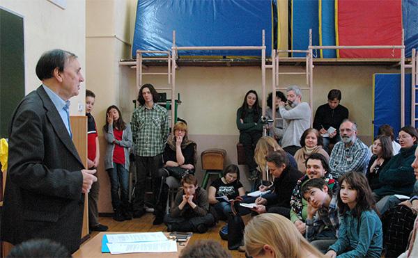 А. А. Зализняк, 24.02.2012, школа «Муми-тролль»