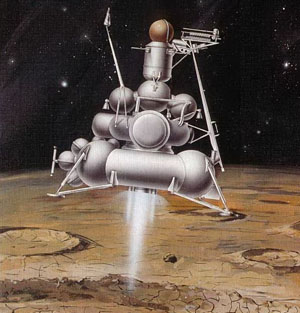 Рис. 2. Лунная станция «Луна-16» совершает посадку («Квант» №11, 2019)