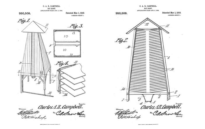 Чертеж насеста для летучих мышей из патента, зарегистрированного Чарльзом Кэмпбеллом 1 марта 1910 года. Слева — общий вид. Справа — в разрезе. 1 — опорные столбы; 3 — сборник для гуано; 4 — поворотное дно для эвакуации гуано; 8 — отверстия для входа и выхода летучих мышей; 10 — полки-насесты для животных; 11 — крыша; 15 — трубка, через которую можно подать дезинфицирующие средства; 16 — дверь, через которую можно войти, чтобы помочь упавшим вниз зверькам и вернуть их на полки. Рисунки с сайта texashistory.unt.edu