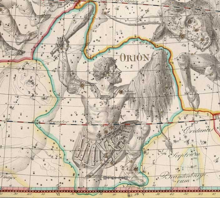 Изображение созвездия Ориона, сделанное немецким астрономом Иоганном Элертом Боде, 1801год
