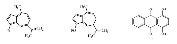 Химические формулы некоторых пигментов из млечников