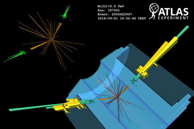 Событие рождения двух W-бозонов срекордной инвариантной массой 5ТэВ вдетекторе ATLAS