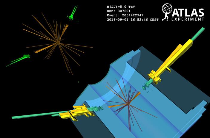 Рис. 1. Событие рождения двух W-бозонов срекордной инвариантной массой 5ТэВ вдетекторе ATLAS