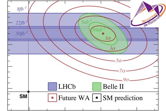 Ожидаемая картина будущих измерений LHCb и Belle II, если нынешнее отклонение сохранится