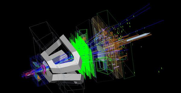 Рис.6. Моделирование отклика детектора на процесс столкновения двух протонов, в котором, среди всего прочего, родился и распался Bs-мезон. Изображение с сайта cdsweb.cern.ch