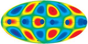 Низкочастотные флуктуации микроволнового фона выстроены вдоль загадочной оси Вселенной (изображение с сайта prl.aps.org)